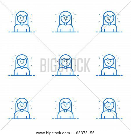 Vector illustration of blue icons in flat line style. Linear cute and happy woman. Graphic design concept of Emoji and Avatar. Use in Web Project and Applications Outline isolated object.
