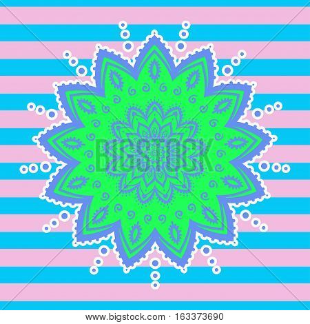 Mandala pattern neon color. Vector illustration. 90s, 80s style