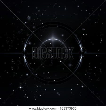 Mystical forms in the starry sky 3D Illustration