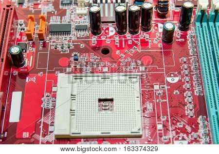 Motherboard - Processor Socket. close up mainboard
