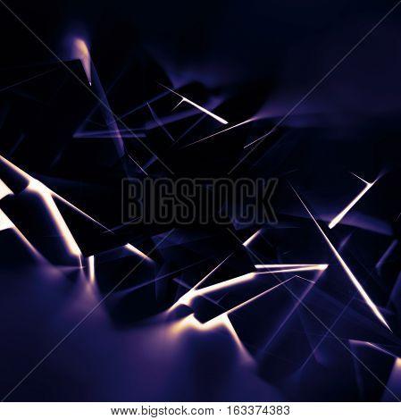 Glowing Dark Lines Pattern, 3D Render