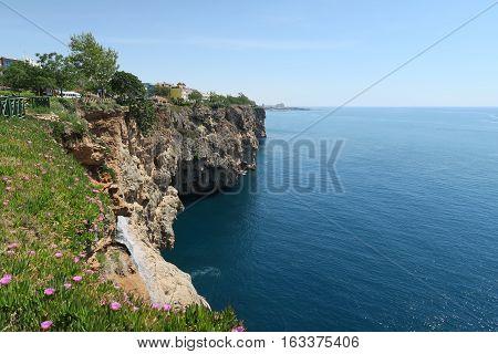 Cliffs of Antalya at the Mediterranian Sea in Turkey, near Duden Waterfall