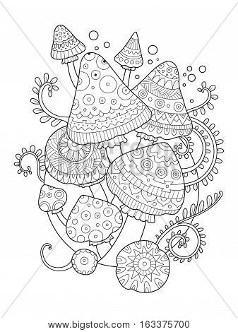 Mushroom drawing coloring book for adults vector illustration. Anti-stress coloring for adult. Tattoo stencil. Zentangle style. Black and white lines. Lace pattern