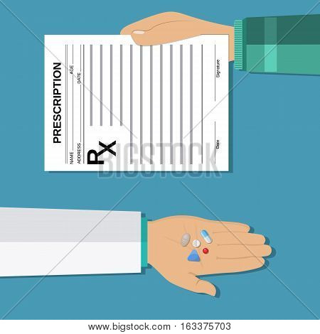 hands holds a prescription rx form and pills. taking pills, Healthcare, hospital and medical diagnostics. vector illustration in flat style.