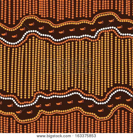 Illustration based on aboriginal style of dot painting. Aboriginal art vector background.