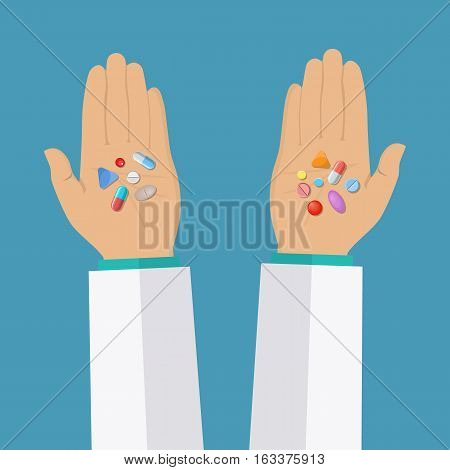 Doctor Hands holds capsules, Tablets, drugs. Medical Prescription. Healthcare. vector illustration in flat style