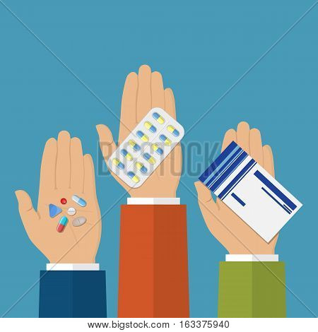 Hands holds Hands capsules, Tablets, drugs. Medical Prescription. Healthcare. vector illustration in flat style
