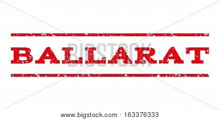 Ballarat watermark stamp. Text tag between horizontal parallel lines with grunge design style. Rubber seal stamp with dirty texture. Vector intensive red color ink imprint on a white background.