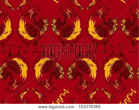 Seamless pattern with hen and leg. Symmetrical brood-hen on red background. Handmade illustration of vector for your design. It may be used for packing, box, cloth and other your designe concept art