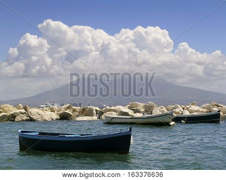Napoli, Italy. In the background, the Vesuvio covered with clouds.