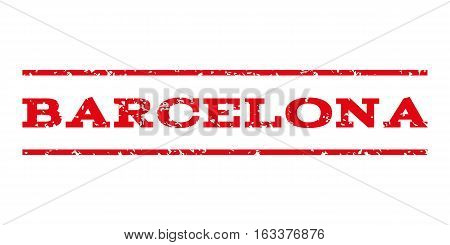Barcelona watermark stamp. Text tag between horizontal parallel lines with grunge design style. Rubber seal stamp with unclean texture. Vector intensive red color ink imprint on a white background.