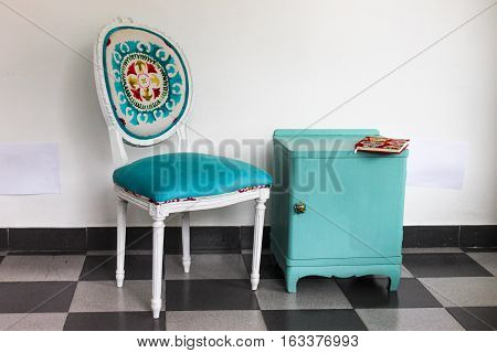 French Chair a Bedside Table in Blue