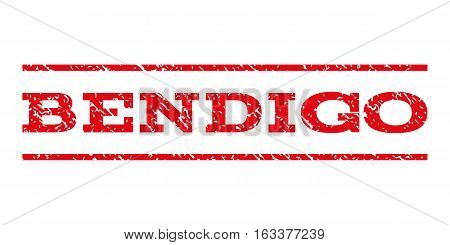 Bendigo watermark stamp. Text tag between horizontal parallel lines with grunge design style. Rubber seal stamp with unclean texture. Vector intensive red color ink imprint on a white background.