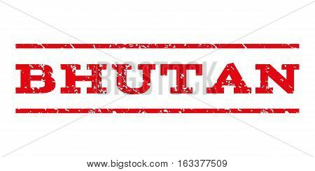 Bhutan watermark stamp. Text caption between horizontal parallel lines with grunge design style. Rubber seal stamp with dirty texture. Vector intensive red color ink imprint on a white background.