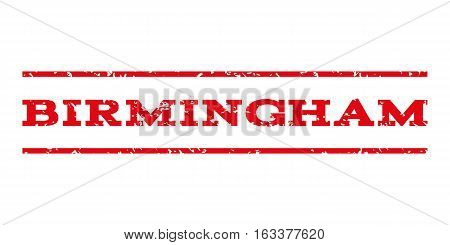 Birmingham watermark stamp. Text tag between horizontal parallel lines with grunge design style. Rubber seal stamp with dust texture. Vector intensive red color ink imprint on a white background.