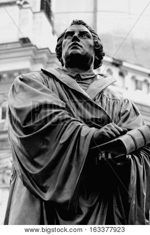 the old monument of Martin Luther monument in Dresden (Germany) in b/w format