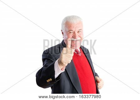 Senior In Red Sweater And Business Suit Smiles