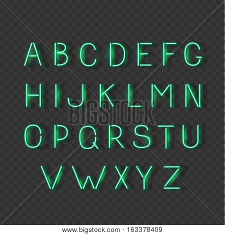 Green neon light glowing alphabet. Vector luminescent signs, typeset, letters, font