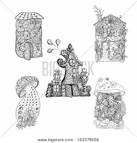 Adult coloring book pages. Mono color black ink illustration, vector art. Fairy houses set with ornament. Vector illustration