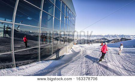 DEMANOVSKA DOLINA SLOVAKIA - DECEMBER 20: Skiers on hill Chopok at ski resort Jasna on December 20 2016 in Demanovska Dolina