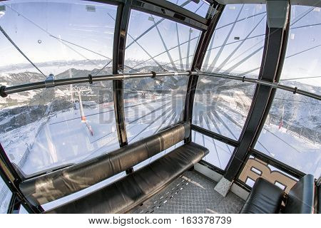 CHOPOk SLOVAKIA - DECEMBER 20: Inside of empty cableway Funitel at ski resort Jasna on December 20 2016 in Chopok