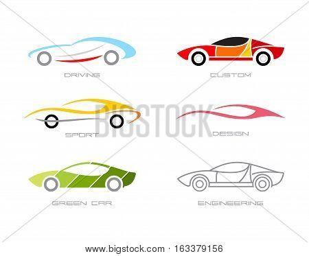 Modern cars. Set of various vector icons isolated on a white background. Can be used as the logo.