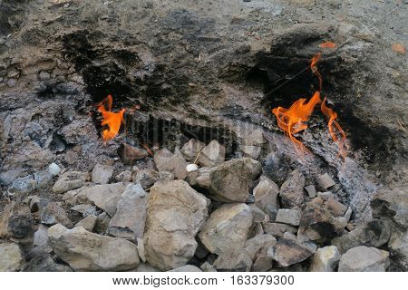 The Eternal Gasflames of Chimera-Yanartas in Cirali-Olympos, Turkey, are Burning since 2.500 Years