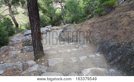 Stairs to the Eternal Flames of Yanartas-Chimera, Lykian Way in Cirali-Olympos