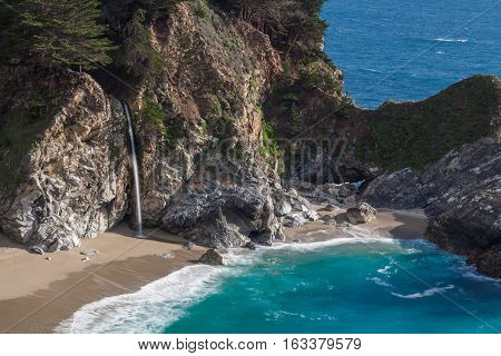 scenic McWay Falls along the California coast near Big Sur