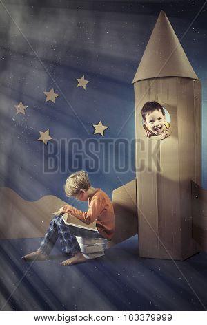 Boy In Paper Rocket