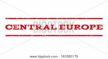 Central Europe watermark stamp. Text tag between horizontal parallel lines with grunge design style. Rubber seal stamp with dirty texture. Vector intensive red color ink imprint on a white background.