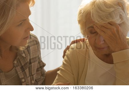 Ill Senior And Worried Daughter