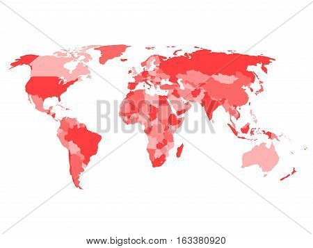 World map with names of sovereign countries and larger dependent territories. Simplified vector map in four shades of red on white background.