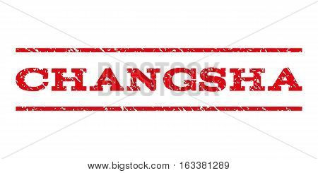 Changsha watermark stamp. Text caption between horizontal parallel lines with grunge design style. Rubber seal stamp with dust texture. Vector intensive red color ink imprint on a white background.
