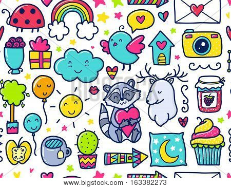 Doodles cute seamless pattern. Color vector background. Illustration with hearts and flowers, animals and tea, cloud and stars.