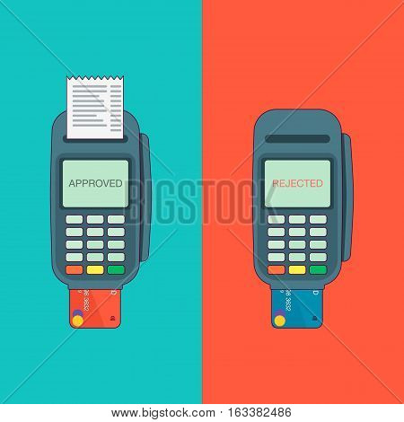 POS terminal with inserted credit card and printed reciept. Modern flat design element. EPS10 vector