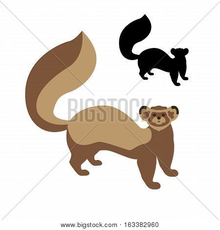 ferret vector illustration style Flat set silhouette