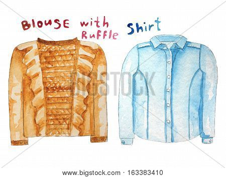 Blouse with ruffle. Blue shirt. Hand drawn watercolor illustration. Raster illustration