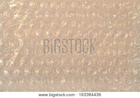Bubble wrap plastic as background texture close up