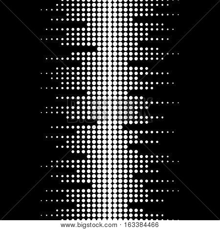 Vector monochrome seamless pattern. Dynamic visual effect, modern simple background with black & white dots. Illustration of sound waves. Geometric texture for prints, digital, cover, decoration, web