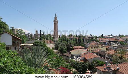 Yivli Minare Mosque, the Famous Landmark in Antalyas Oldtown Kaleici, Turkey