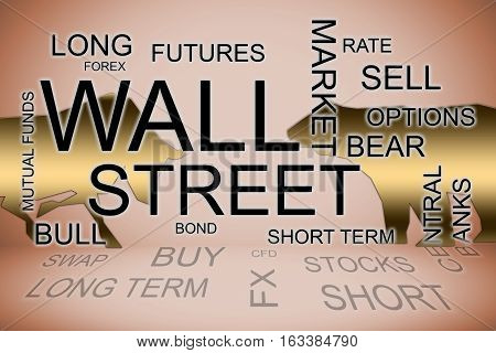 a wall street words in a financial concepts background
