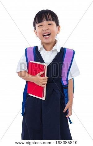 Asian Chinese Little Primary School Girl Holding Books With Bag