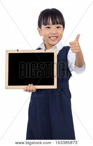 Asian Chinese Little Primary Girl Holding Chalkboard With Thumbs Up