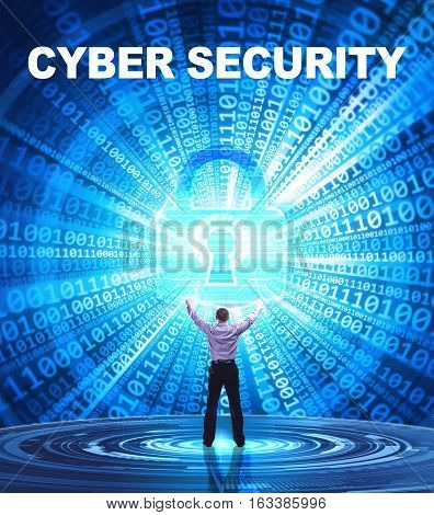 Technology, Internet, Business And Network Concept. Young Business Man Provides Cyber Security: Cybe