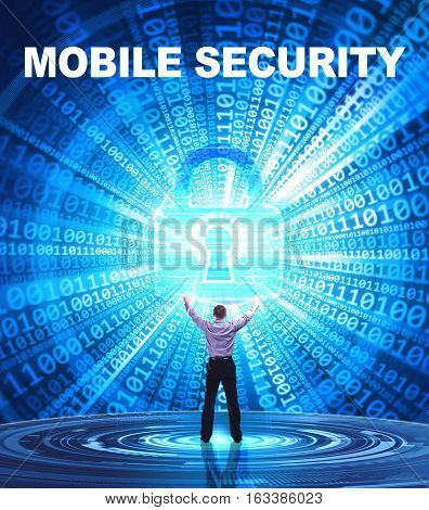 Technology, Internet, Business And Network Concept. Young Business Man Provides Cyber Security: Mobi