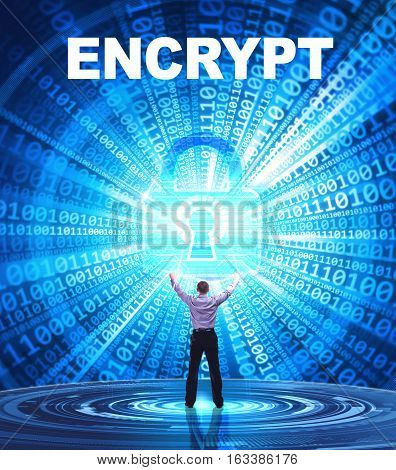 Technology, Internet, Business And Network Concept. Young Business Man Provides Cyber Security: Encr