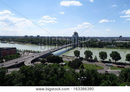 New Bridge over Danube River in Slovakias Capital Bratislava, as seen from Bratislava Castle