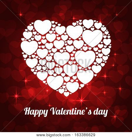 white hearts on red background for valentine. vector illustration