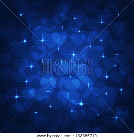 valentine bokeh blue background for lovers. vector illustration